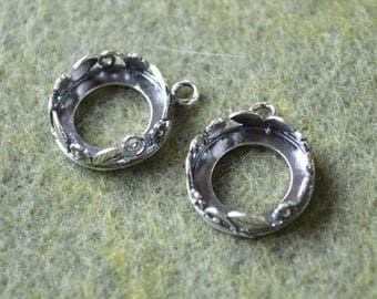 2pcs Drop 14mm Cabochon Setting Frame Round Antiqued Silver-Plated Brass JBB Findings Bezel