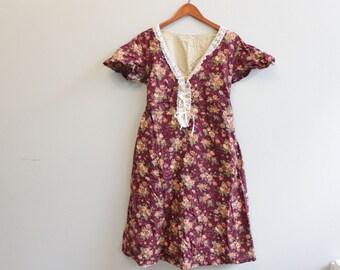 Vintage Maroon Floral 90s 80s Dress