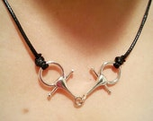 Snaffle Bit Necklace Sterling Silver with Adjustable Black Cord,Equestrian Necklace,Snaffle Bit Jewelry