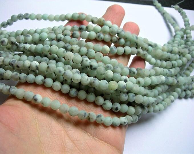 Lotus Jasper matte - 6 mm round   beads -1 full strand - 64 beads - sesame jasper - matte - RFG1203