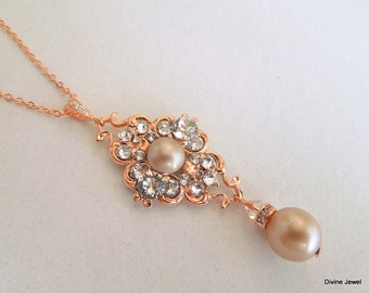 Pearl Necklace Rose Gold Bridal Necklace champagne Pearl Bridal Necklace Pearl Rhinestone Necklace Bridal Statement crystal Necklace CLAUDE