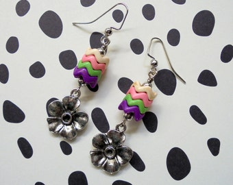 Purple, Pink, Green, Ivory and Silver Flower Earrings (3387)