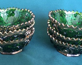 Antique EAPG Glass Northwood Memphis Dolls Eye Berry Bowl Set of 6 Emerald Green Gold Gilt Victorian Glass Circa 1908
