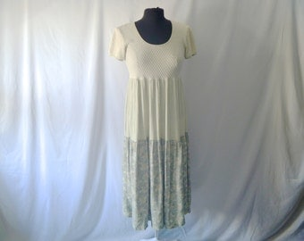 Vintage 90's Tri-Fabric Three-Paneled Olive Maxi Dress by E.D. Michaels Size Small