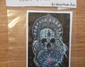Relic Metal Skull With Galaxy And Symbols Patch - Sew On Patch Tattoo Art Punk Goth Addams Family