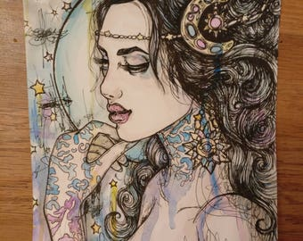Queen Of Night  - Original 6x8 Inches Ink and Watercolor Illustration Art Moon Ornate Art Nouveau Tattoo Art Woman Dreamer Stars