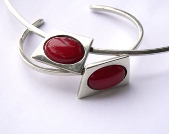 Vintage Mexican Jewelry Set 950 Silver Bracelet Choker Set Red Jade Modernist Geometric Abstract Design Sterling Silver Vintage Jewelry