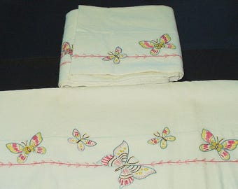 Vintage Embroidery Butterfly Pillowcase Pair Cotton Regular Standard Pillow Case Reclaimed Vintage Bedding 4173x