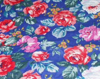 Cotton Polyester Blend Blue with Pink Red White Roses Print Fabric 4 Yards Sewing Crafting Quilting Fabric Yardage 517
