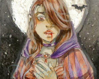 Original ACEO -  Vampire night