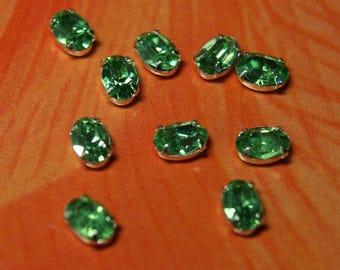 Vintage Swarovski peridot Green Crystal Stones in  6x4mm  Silver Settings (6)