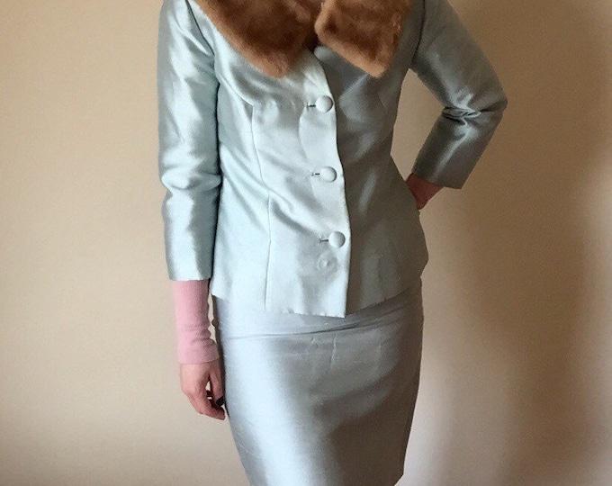 60s mink fur collar TWO PIECE set high waist baby blue pastel skirt George Brown originals 25 waist small S medium M mid century vintage