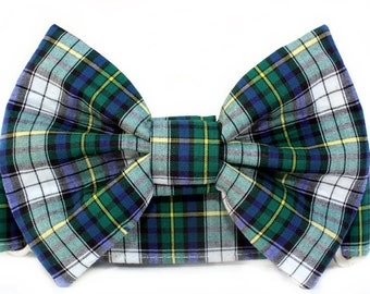 Blue and Green Plaid Bow Tie Martingale Dog Collar - Extra Wide Dog Collar - 1.5 Inch Width