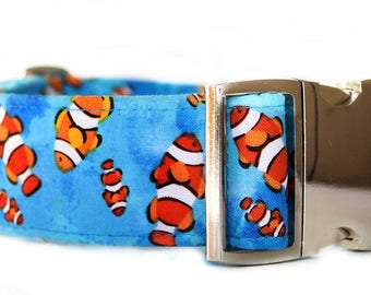 Extra Wide Dog Collar, 1.5 Inch Dog Collar, Blue Orange Clownfish Dog Collar, Nautical Dog Collar, Summer Dog Collar, Metal Buckle Collar