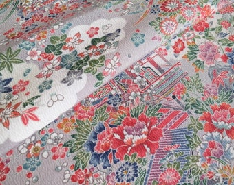 Japanese pure silk cloth from Kyoto Pale Gray Floral pattern