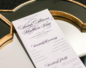 "Elegant Wedding Program, Ceremony Programs, Calligraphy Invitations, Purple and Grey Event - ""Classic Romance"" Flat Program - DEPOSIT"