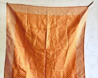 Water Repellent Vintage Scarf Metallic Copper Orange White Polka Dots Retro Rain Accessory artedellamoda talkingfashion