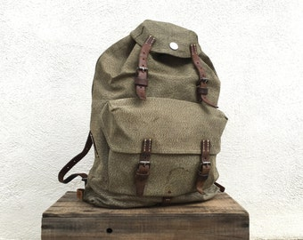 Salt and Pepper Swish Military Metal Frame Canvas and Leather Rucksack Backpack