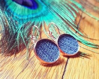 Denim Earrings- Round Pendant Lever back Jean dangle