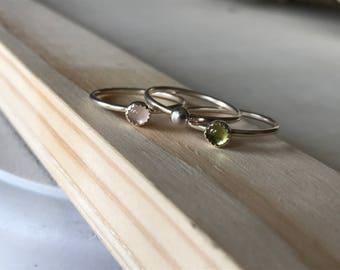 Peridot and Rose Quartz Stacker rings