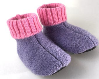 Waldorf Preschool Slippers, Wool Sweater Slippers, 12-18 months,  Shoe Size 2-3, Winter Shoes, Non Slip Grippy Bottom, Machine Washable