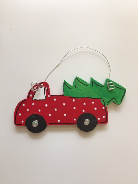 Christmas pickup Truck, Red truck with tree, vintage style Christmas ornament, hand painted and personalized,  wood ornament