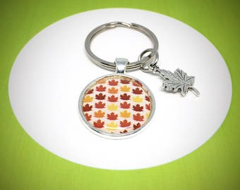 keychain with autumn warm colour maple leaf pattern , 30mm keyring