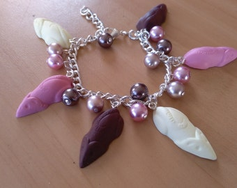 Polymer clay chocolate mice bracelet with glass pearls