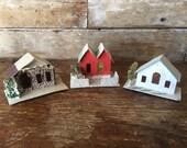 Vintage Putz Houses Christmas Made In Japan Cardboard Set of 3