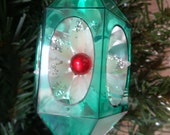 Vintage Jewel Brite Green Hard Plastic Christmas Ornament With A Poinsettia