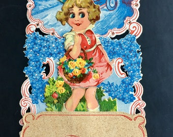 Vintage Valentine From Germany Standing Girl with Flowers Adorable