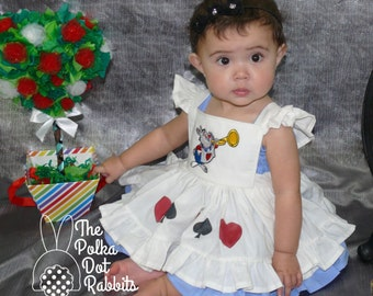 Toddler Alice in Wonderland Costume Dress, 2 Piece Ruffle Dress, White Pinafore, White Rabbit Applique Blue Smocked or Peasant Style Dress