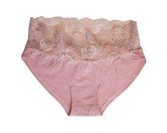 Lace Wide band panty - Organic cotton + Lace