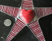 Line up to be my Valentine star - 10 inch lacquered fabric on glass with colored and engraved soapstone heart center