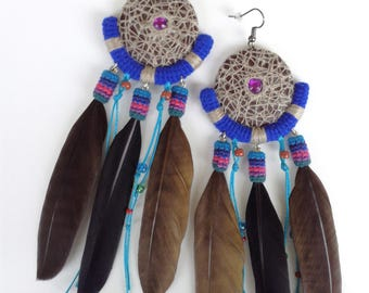 Long Aztec Feather Dangle Earrings, Woodlands Real Feather Earrings, Bohemian Feather Earrings Brown Blue