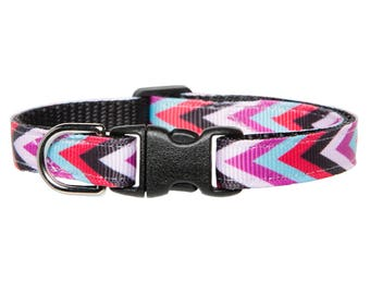 "Cat Collar - ""The Block Party"" - Red Chevron"