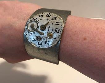 Steampunk industrial cuff bracelet
