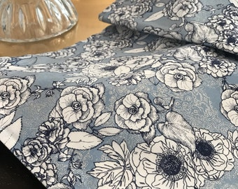 Fall Centerpiece | Floral Table Runner | Shabby Chic Table Runner | Silver blue floral table runner | Centerpiece
