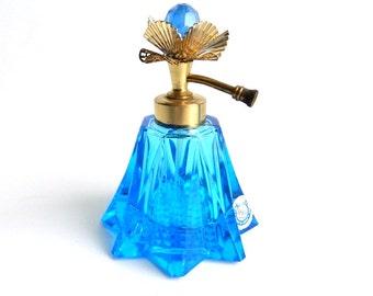 "Vintage Irice Cobalt Blue Cut Glass Perfume Bottle with Decorative Flower - Rhinestone - Atomizer  - 4"" High"
