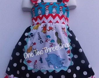 Custom Boutique Clothing Dr Seuss  Sassy Girl  Dress