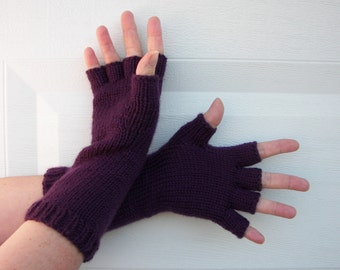Hand Knit Half Finger LONG SOFT Gloves in Anti Pill 100% Acrylic / Long Arm Sleeve Fingerless Gloves / Custom color and size