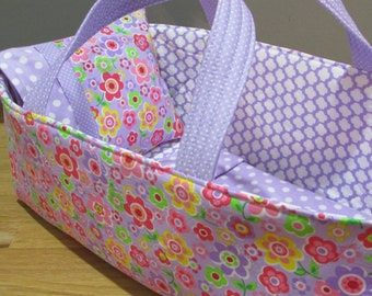 Doll Carrier ,Lavender and Pink Floral, Lavender Lining, 14 Inches Long