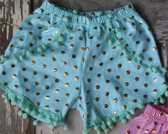 Light Blue Pom Pom Baby Girl Shorts Summer