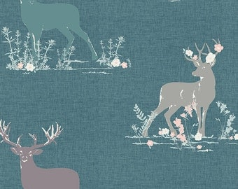 Dear deer in teal from the Blithe fabric collection by Katarina Roccella for Art Gallery fabrics