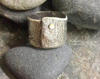 Tall and sassy. Retuculated sterling and 18k gold ring