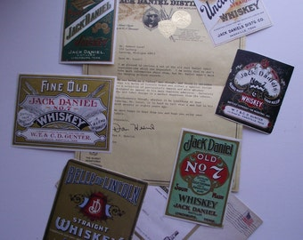 1981 Jack Daniels Labels 6 in Lot Letter-Hedrick w/Mailing Envelope Sour Mash Whiskey Saloon Bar Ware Man Cave Industrial Primitive Rustic