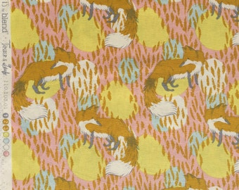 Timber and Leaf Playful Fox gold pink Sarah Watts Blend Fabrics FQ or more