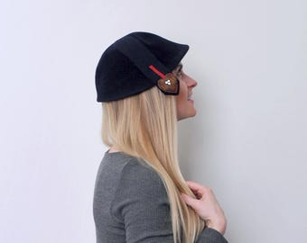 Vintage 1960's heart hat. cloche. 60's navy blue hat. wool felt. red. copper