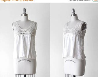 25% OFF Edwardian blouse. 1910's white tank. camisole. ivory. crochet lace top. antique blouse. small.