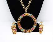 Rhinestone Circle Pendant Necklace & Hoop Earrings Set - Infinity Circle of Multi Colored Rhinestones - Vintage Sarah Coventry Demi Parure
